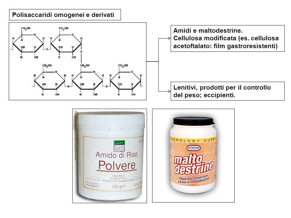 Polisaccaridi omogenei e derivati Amidi e maltodestrine. Cellulosa modificata (es. cellulosa acetoftalato: film gastroresistenti) Lenitivi, prodotti p
