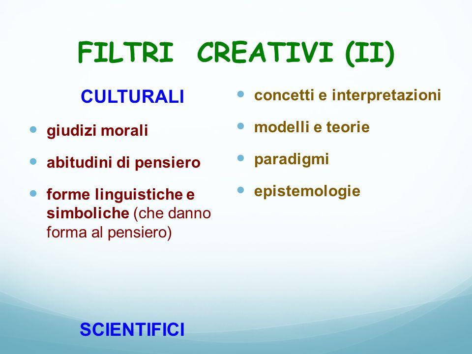 FILTRI CREATIVI (II) CULTURALI giudizi morali abitudini di pensiero forme linguistiche e simboliche (che danno forma al pensiero) SCIENTIFICI concetti