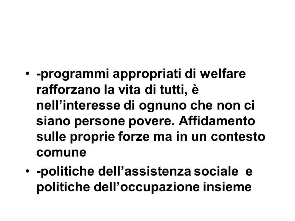 -programmi appropriati di welfare rafforzano la vita di tutti, è nell'interesse di ognuno che non ci siano persone povere. Affidamento sulle proprie f