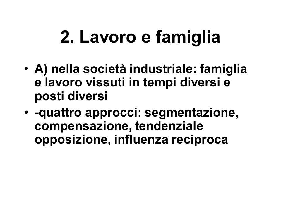 2. Lavoro e famiglia A) nella società industriale: famiglia e lavoro vissuti in tempi diversi e posti diversi -quattro approcci: segmentazione, compen