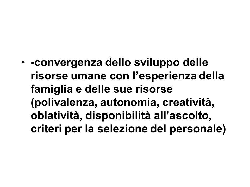 -convergenza dello sviluppo delle risorse umane con l'esperienza della famiglia e delle sue risorse (polivalenza, autonomia, creatività, oblatività, d