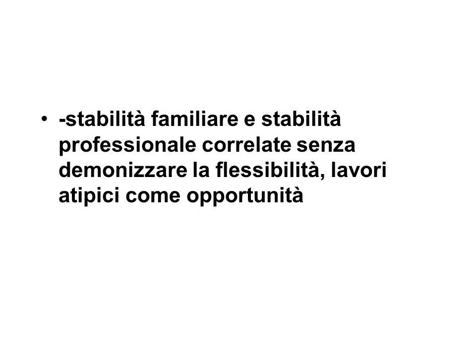 -stabilità familiare e stabilità professionale correlate senza demonizzare la flessibilità, lavori atipici come opportunità