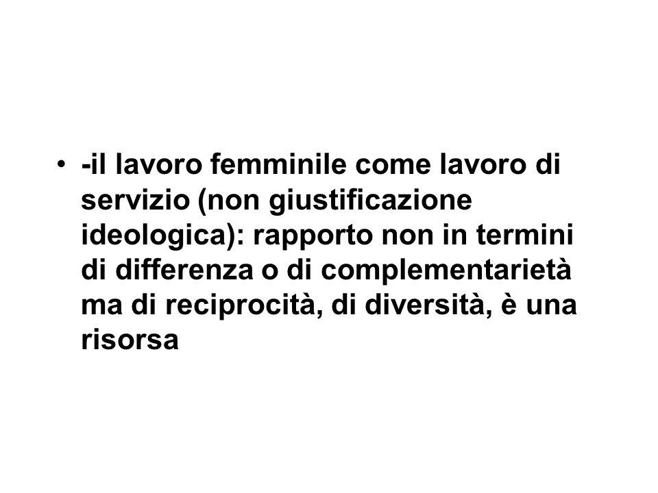 -il lavoro femminile come lavoro di servizio (non giustificazione ideologica): rapporto non in termini di differenza o di complementarietà ma di reciprocità, di diversità, è una risorsa