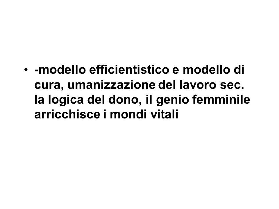 -modello efficientistico e modello di cura, umanizzazione del lavoro sec. la logica del dono, il genio femminile arricchisce i mondi vitali