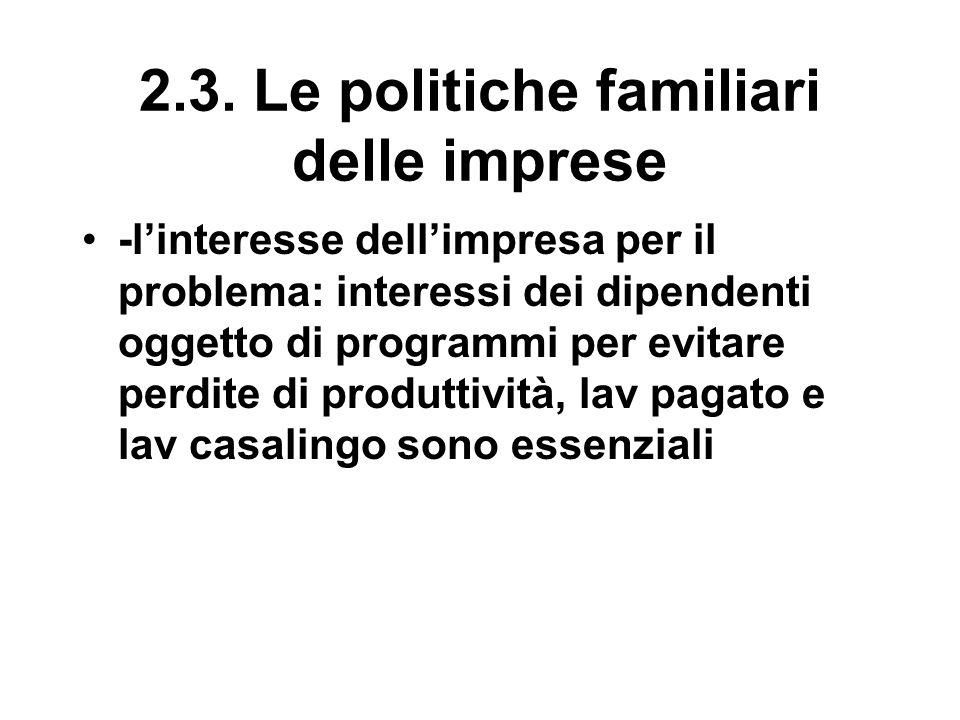 2.3. Le politiche familiari delle imprese -l'interesse dell'impresa per il problema: interessi dei dipendenti oggetto di programmi per evitare perdite