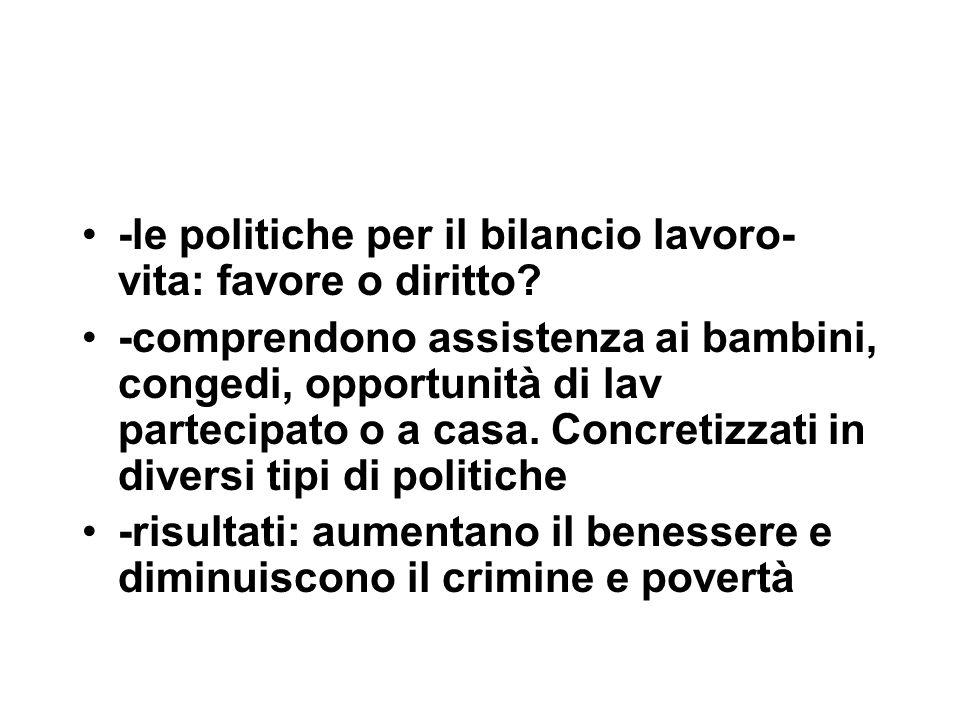 -le politiche per il bilancio lavoro- vita: favore o diritto.