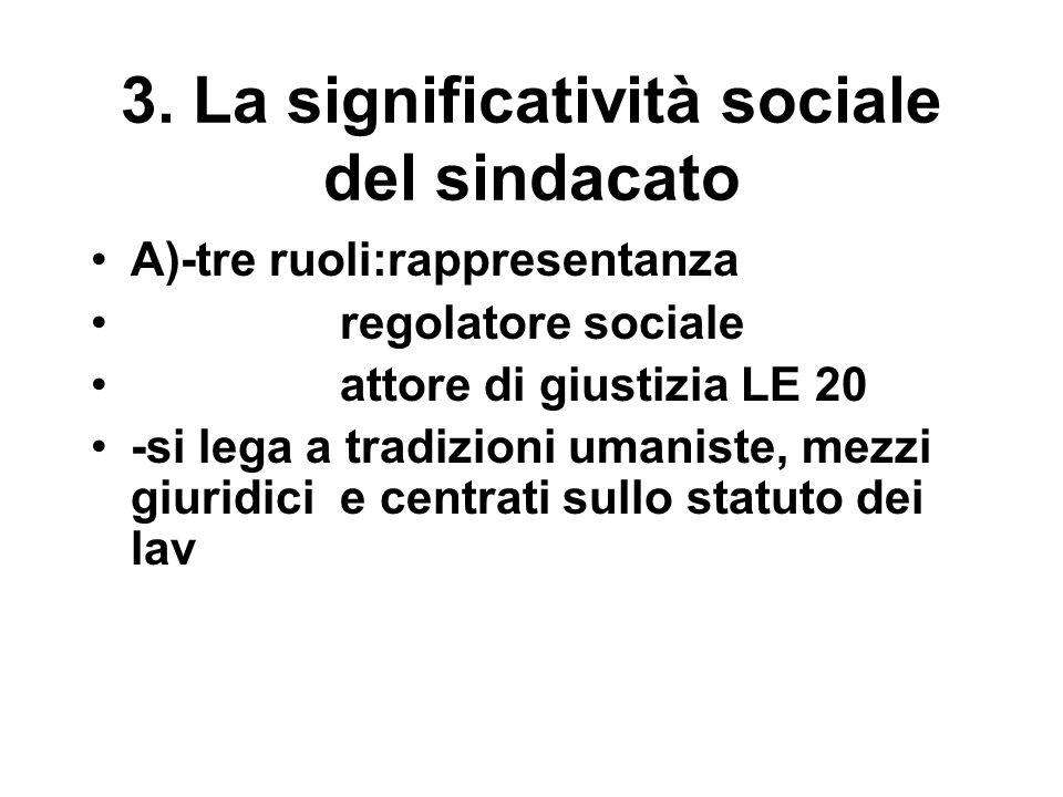 3. La significatività sociale del sindacato A)-tre ruoli:rappresentanza regolatore sociale attore di giustizia LE 20 -si lega a tradizioni umaniste, m