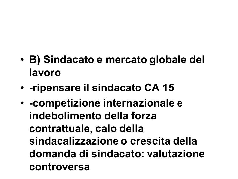 B) Sindacato e mercato globale del lavoro -ripensare il sindacato CA 15 -competizione internazionale e indebolimento della forza contrattuale, calo della sindacalizzazione o crescita della domanda di sindacato: valutazione controversa