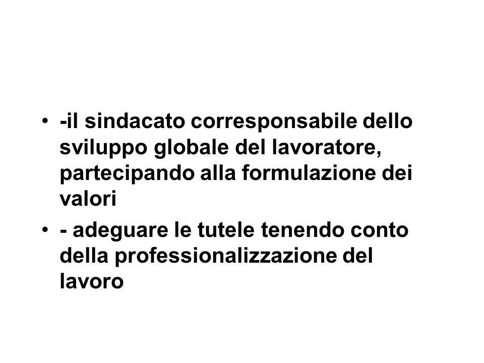 -il sindacato corresponsabile dello sviluppo globale del lavoratore, partecipando alla formulazione dei valori - adeguare le tutele tenendo conto della professionalizzazione del lavoro