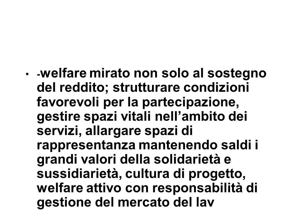- welfare mirato non solo al sostegno del reddito; strutturare condizioni favorevoli per la partecipazione, gestire spazi vitali nell'ambito dei servi