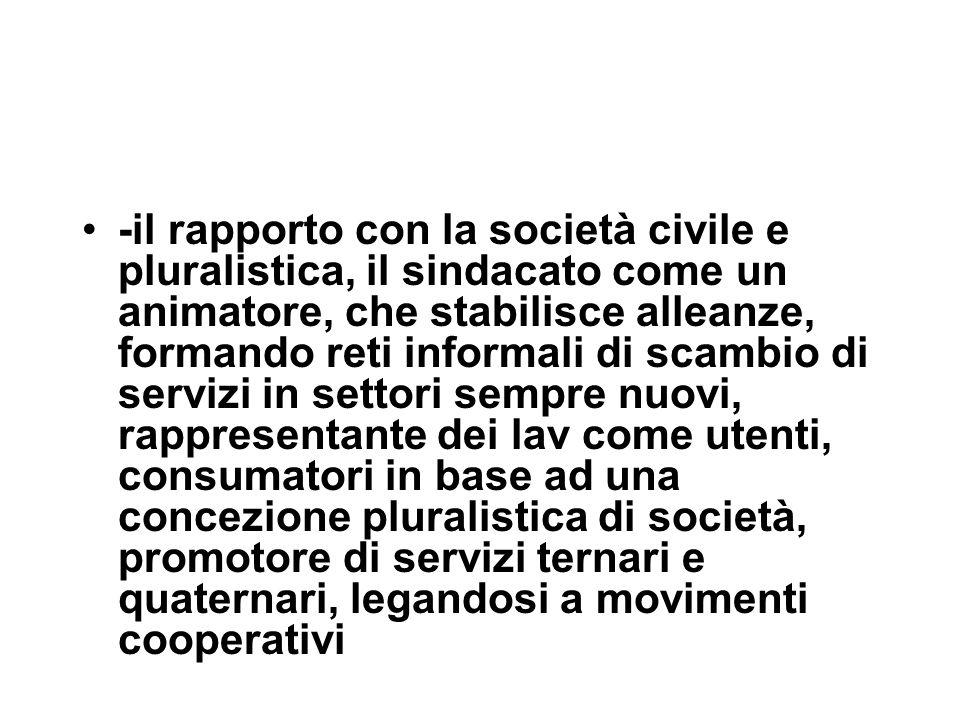 -il rapporto con la società civile e pluralistica, il sindacato come un animatore, che stabilisce alleanze, formando reti informali di scambio di serv