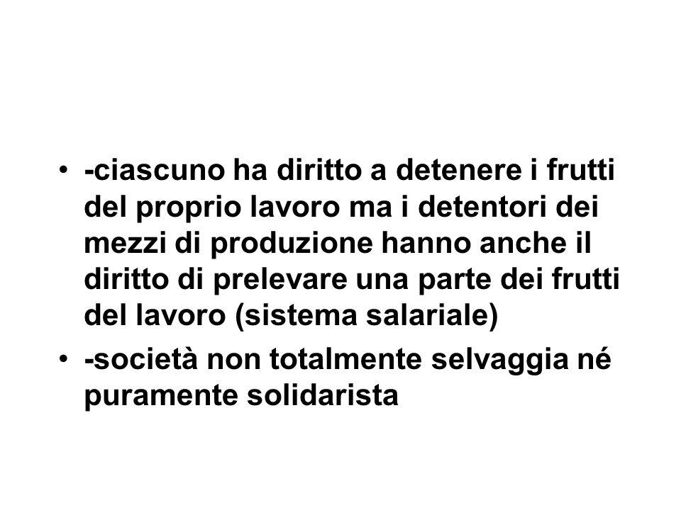 -ciascuno ha diritto a detenere i frutti del proprio lavoro ma i detentori dei mezzi di produzione hanno anche il diritto di prelevare una parte dei f