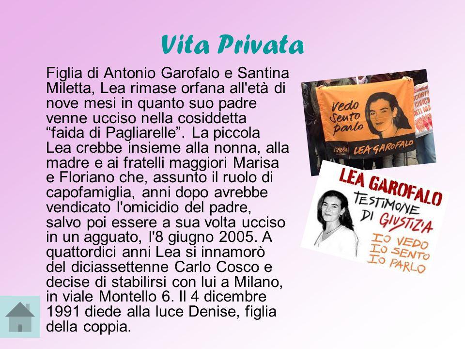 Morte Lunedì 24 novembre è l'anniversario della morte di Lea Garofalo, ex moglie del boss Carlo Cosco che dopo essere diventata testimone di giustizia fu uccisa dalla 'ndrangheta, nei dintorni di Monza, in Lombardia, in un agguato organizzato dal suo ex marito.
