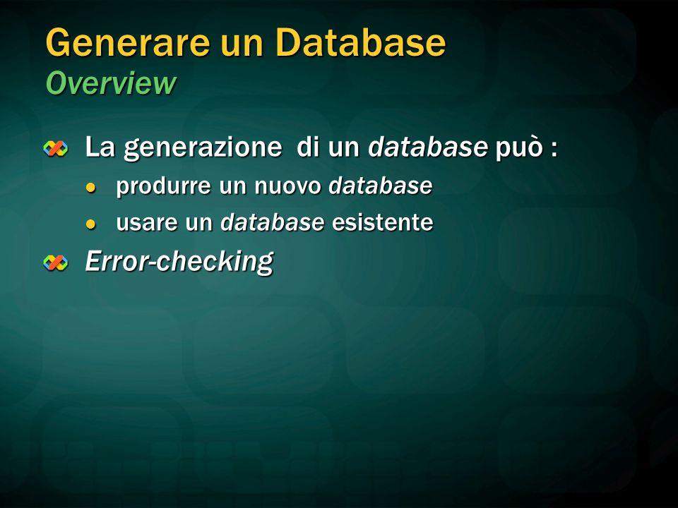 Generare un Database Overview La generazione di un database può : produrre un nuovo database produrre un nuovo database usare un database esistente us