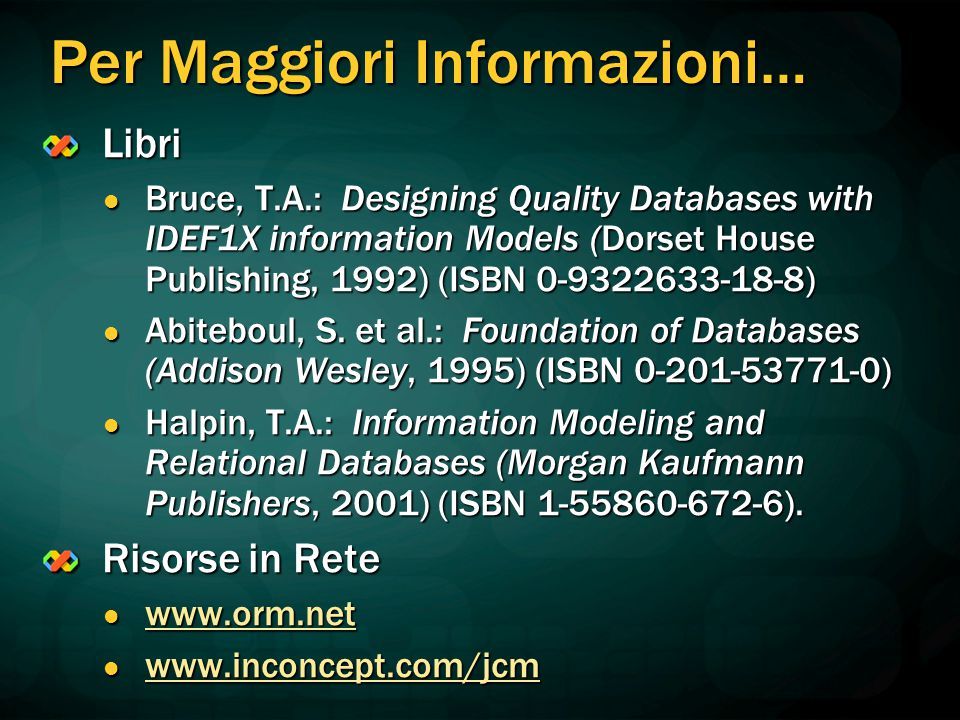 Per Maggiori Informazioni… Libri Bruce, T.A.: Designing Quality Databases with IDEF1X information Models (Dorset House Publishing, 1992) (ISBN 0-93226