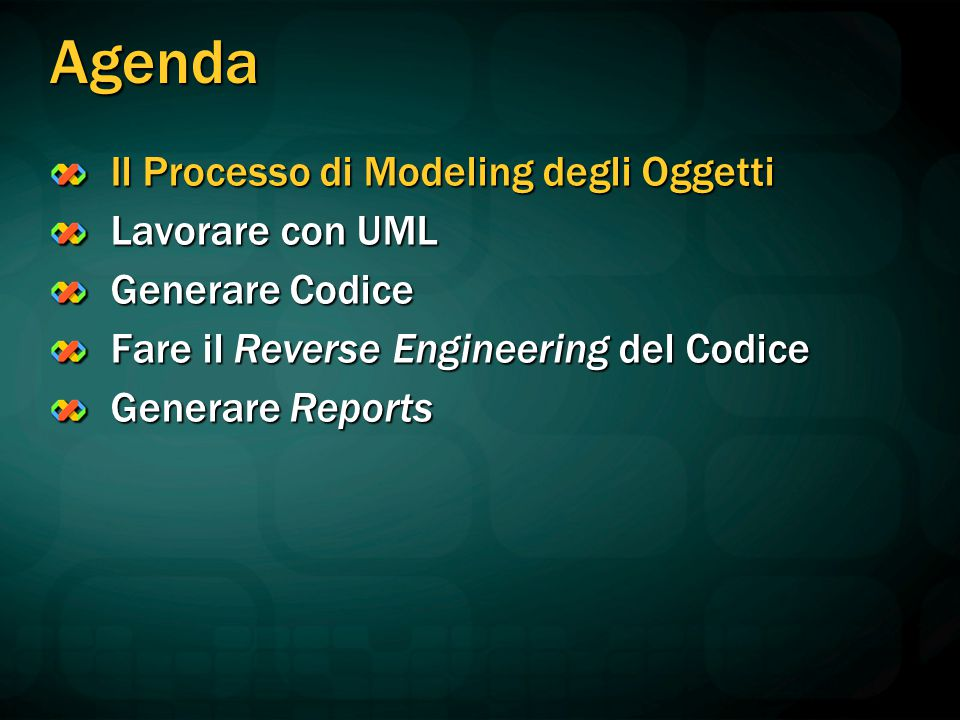 Agenda Il Processo di Modeling degli Oggetti Lavorare con UML Generare Codice Fare il Reverse Engineering del Codice Generare Reports