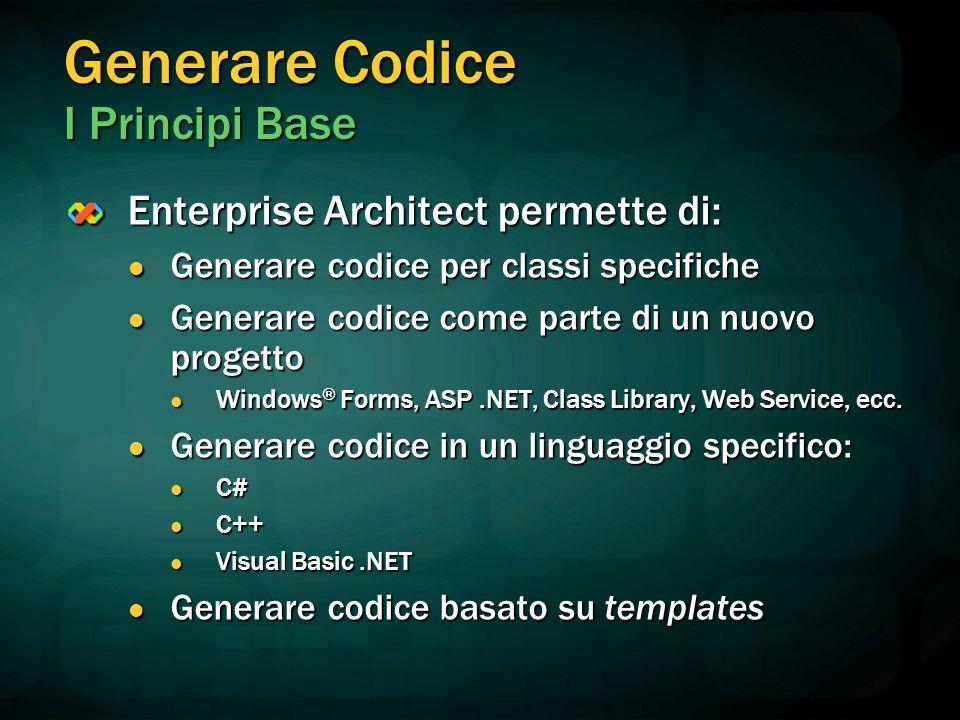 Generare Codice I Principi Base Enterprise Architect permette di: Generare codice per classi specifiche Generare codice per classi specifiche Generare