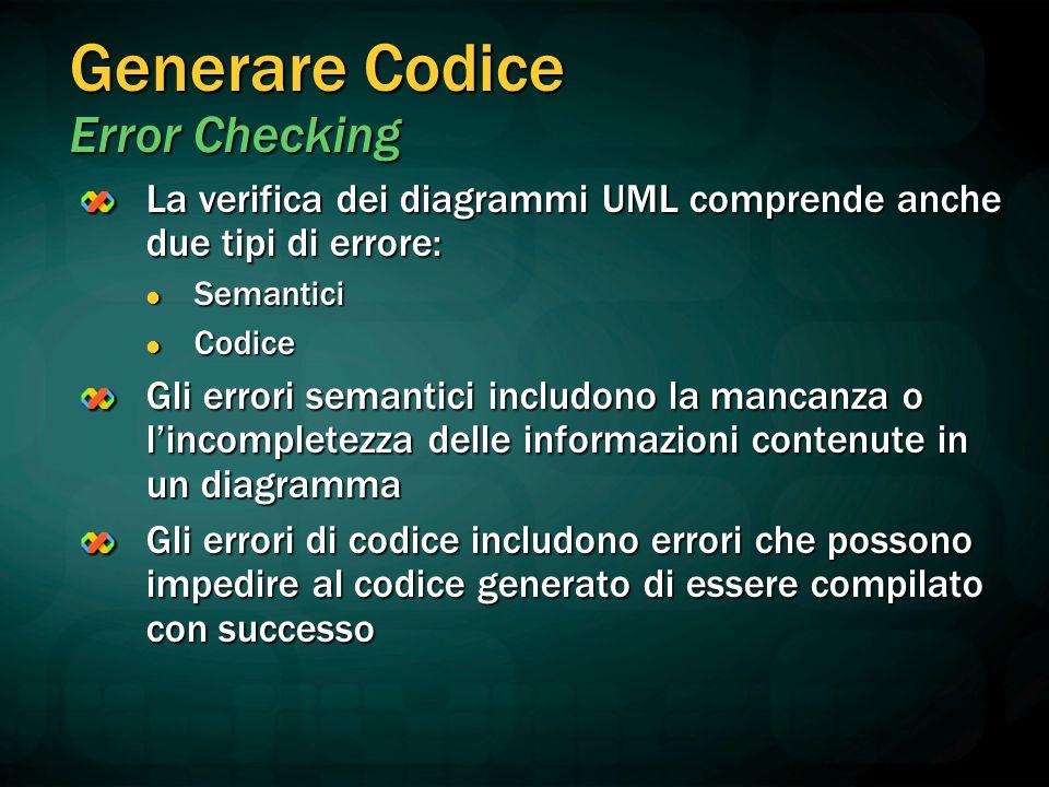 Generare Codice Error Checking La verifica dei diagrammi UML comprende anche due tipi di errore: Semantici Semantici Codice Codice Gli errori semantic