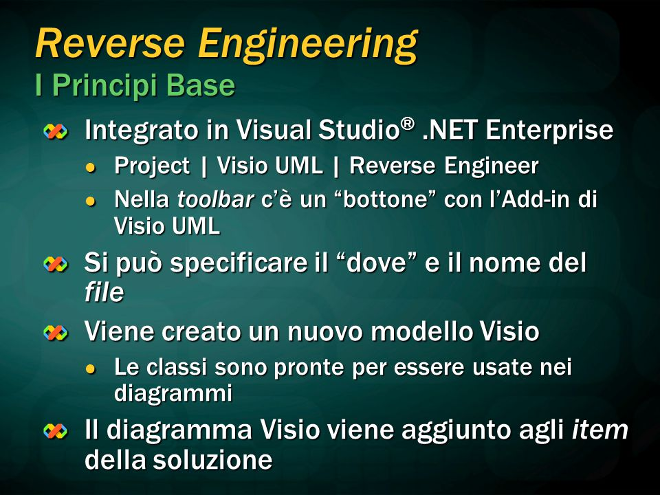 Reverse Engineering I Principi Base Integrato in Visual Studio ®.NET Enterprise Project | Visio UML | Reverse Engineer Project | Visio UML | Reverse E