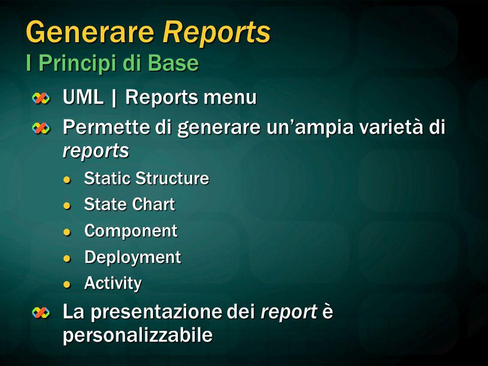 Generare Reports I Principi di Base UML   Reports menu Permette di generare un'ampia varietà di reports Static Structure Static Structure State Chart
