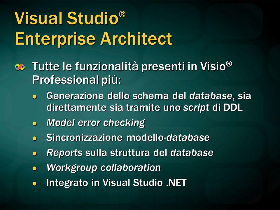 Visual Studio ® Enterprise Architect Tutte le funzionalit à presenti in Visio ® Professional pi ù : Generazione dello schema del database, sia diretta