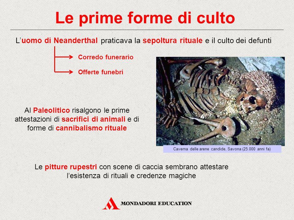 Le prime forme di culto L'uomo di Neanderthal praticava la sepoltura rituale e il culto dei defunti Al Paleolitico risalgono le prime attestazioni di