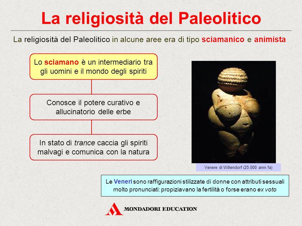 La religiosità del Paleolitico La religiosità del Paleolitico in alcune aree era di tipo sciamanico e animista Lo sciamano è un intermediario tra gli