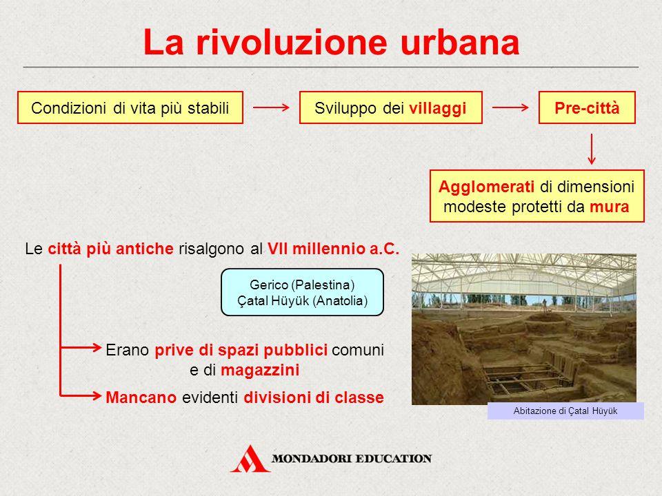 La rivoluzione urbana Condizioni di vita più stabiliPre-città Le città più antiche risalgono al VII millennio a.C. Sviluppo dei villaggi Agglomerati d