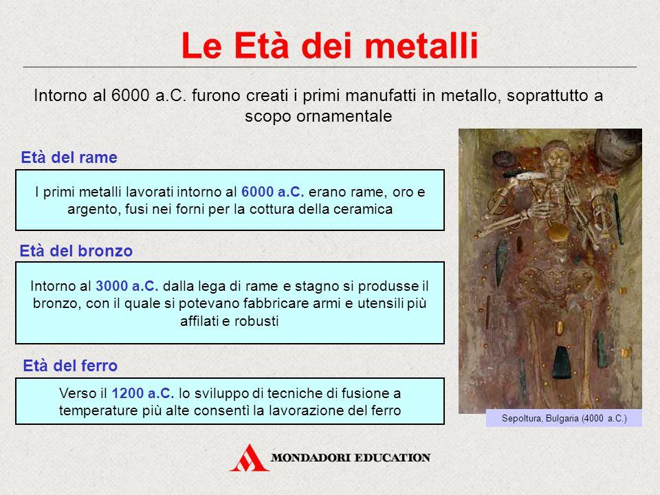 Le Età dei metalli Intorno al 6000 a.C. furono creati i primi manufatti in metallo, soprattutto a scopo ornamentale I primi metalli lavorati intorno a