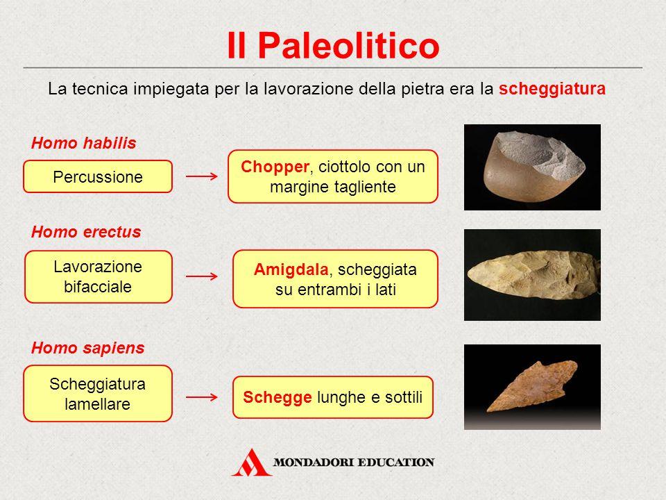 Il Paleolitico Chopper, ciottolo con un margine tagliente Homo erectus Lavorazione bifacciale La tecnica impiegata per la lavorazione della pietra era
