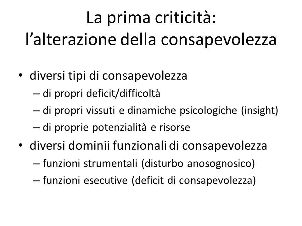 La prima criticità: l'alterazione della consapevolezza diversi tipi di consapevolezza – di propri deficit/difficoltà – di propri vissuti e dinamiche p