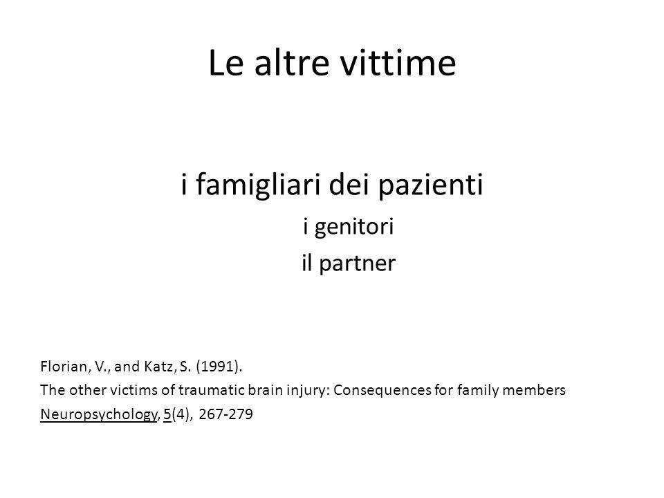 Le altre vittime i famigliari dei pazienti i genitori il partner Florian, V., and Katz, S. (1991). The other victims of traumatic brain injury: Conseq