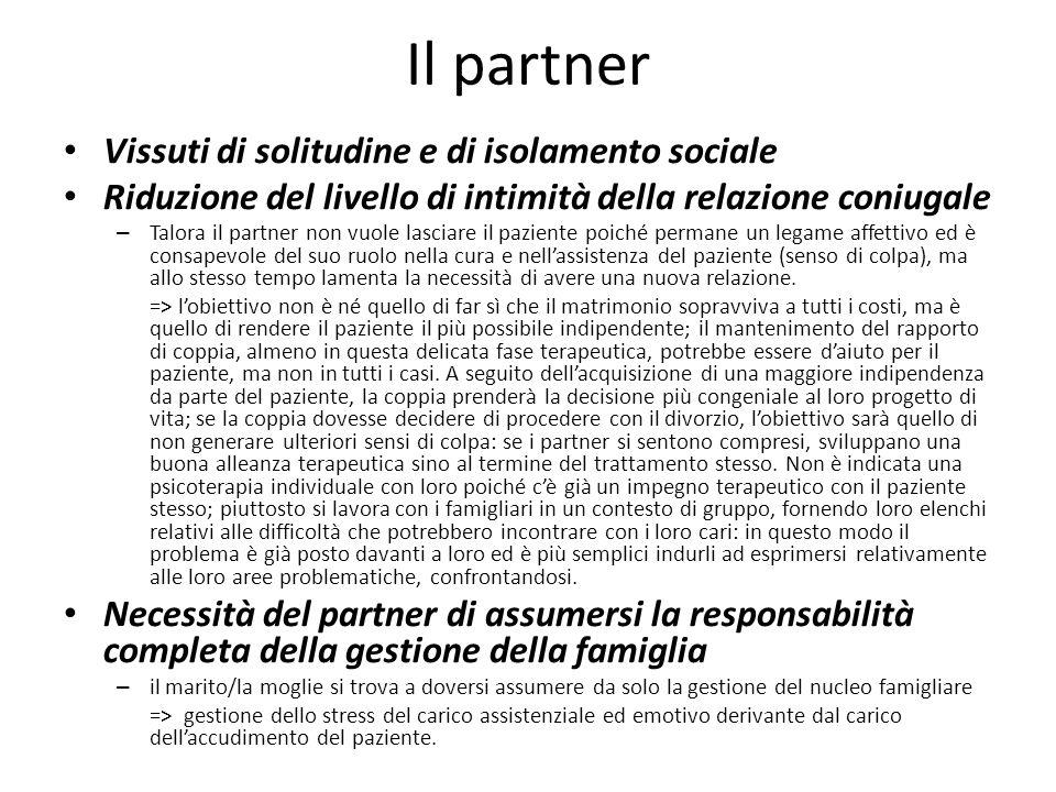 Il partner Vissuti di solitudine e di isolamento sociale Riduzione del livello di intimità della relazione coniugale – Talora il partner non vuole las