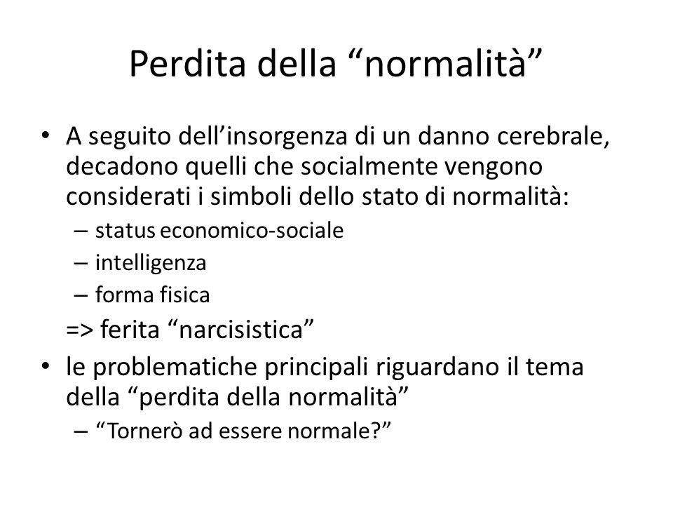 """Perdita della """"normalità"""" A seguito dell'insorgenza di un danno cerebrale, decadono quelli che socialmente vengono considerati i simboli dello stato d"""