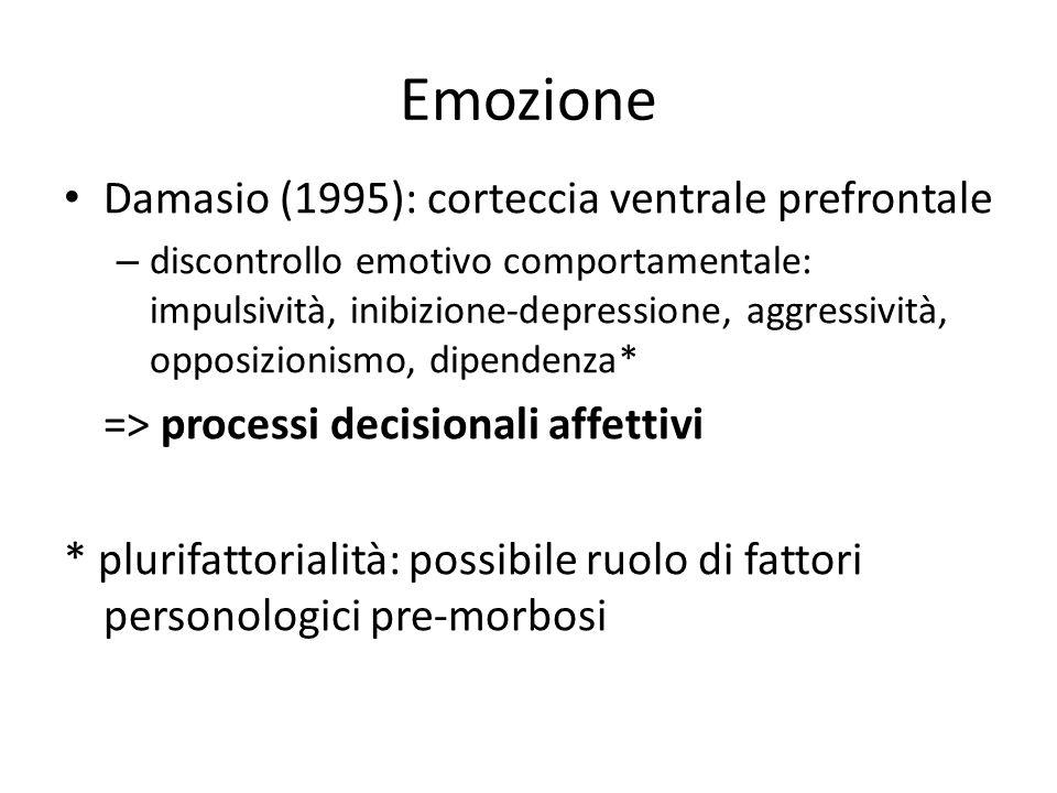 Emozione Damasio (1995): corteccia ventrale prefrontale – discontrollo emotivo comportamentale: impulsività, inibizione-depressione, aggressività, opp