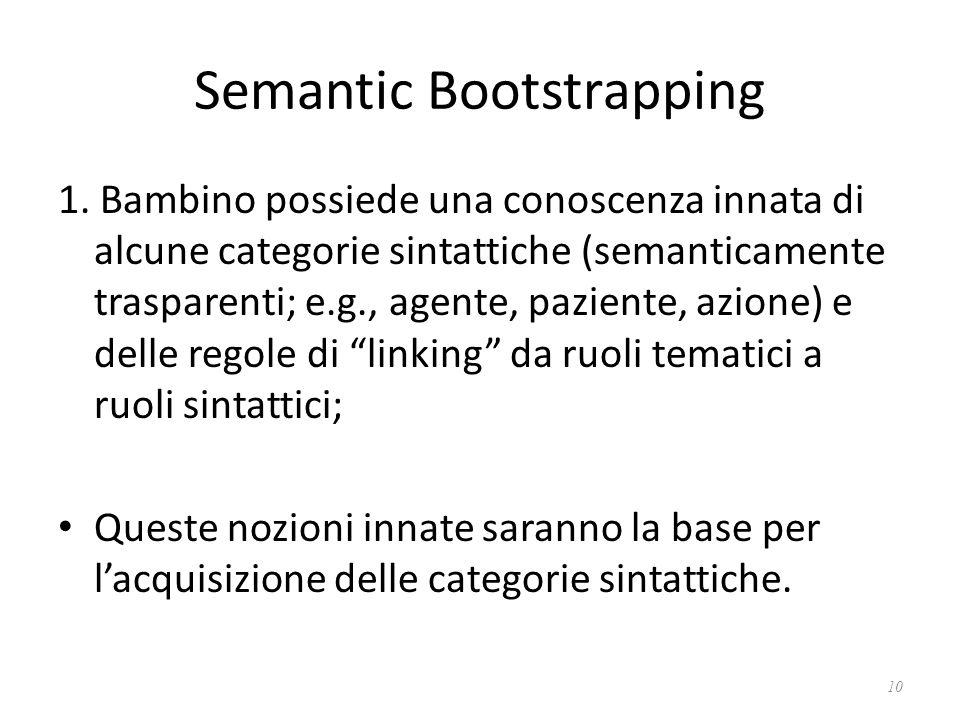 Semantic Bootstrapping 1. Bambino possiede una conoscenza innata di alcune categorie sintattiche (semanticamente trasparenti; e.g., agente, paziente,