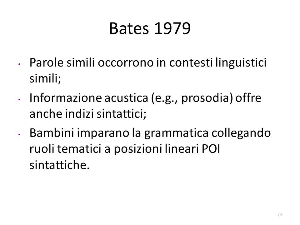 Bates 1979 Parole simili occorrono in contesti linguistici simili; Informazione acustica (e.g., prosodia) offre anche indizi sintattici; Bambini impar
