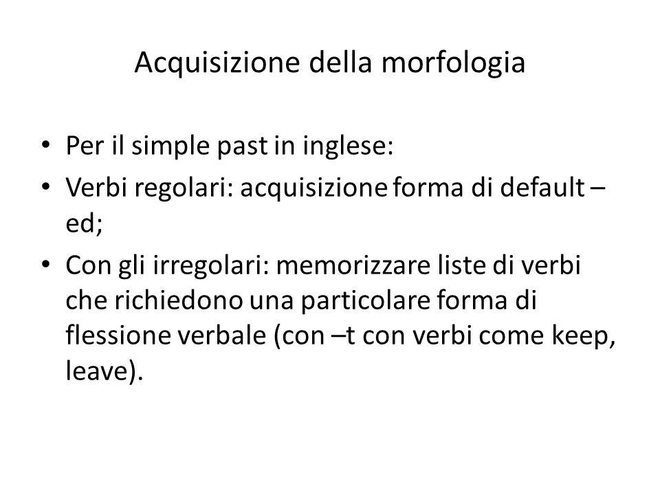 Acquisizione della morfologia Per il simple past in inglese: Verbi regolari: acquisizione forma di default – ed; Con gli irregolari: memorizzare liste