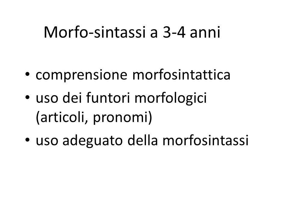 Morfo-sintassi a 3-4 anni comprensione morfosintattica uso dei funtori morfologici (articoli, pronomi) uso adeguato della morfosintassi