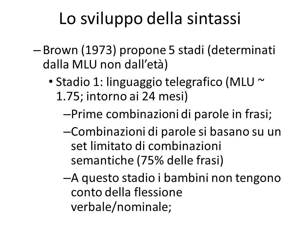 – Brown (1973) propone 5 stadi (determinati dalla MLU non dall'età) Stadio 1: linguaggio telegrafico (MLU ~ 1.75; intorno ai 24 mesi) – Prime combinaz