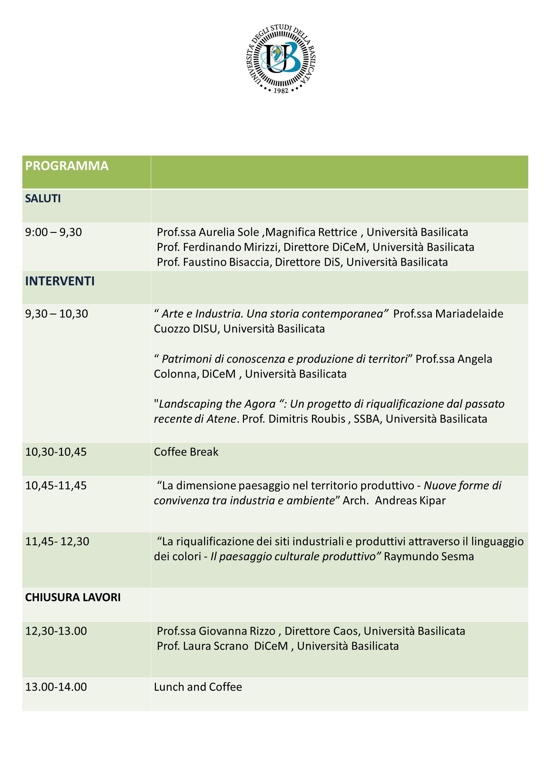 PROGRAMMA SALUTI 9:00 – 9,30 Prof.ssa Aurelia Sole,Magnifica Rettrice, Università Basilicata Prof. Ferdinando Mirizzi, Direttore DiCeM, Università Bas