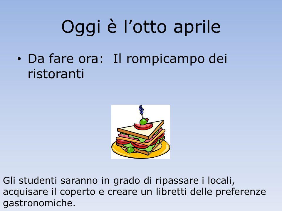 Oggi è l'otto aprile Da fare ora: Il rompicampo dei ristoranti Gli studenti saranno in grado di ripassare i locali, acquisare il coperto e creare un libretti delle preferenze gastronomiche.