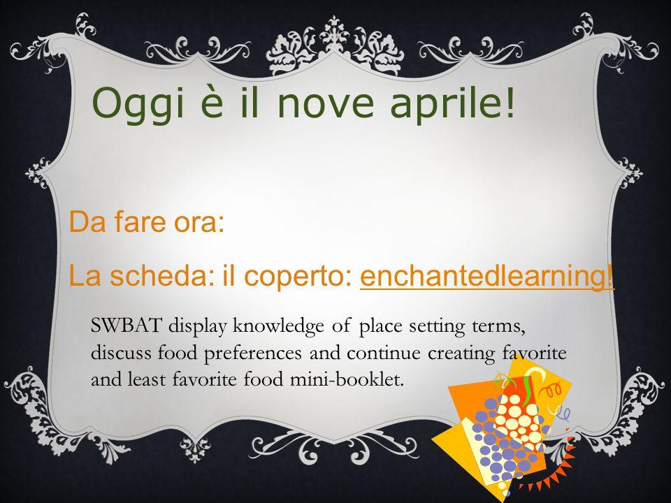 Oggi è il nove aprile. Da fare ora: La scheda: il coperto: enchantedlearning!enchantedlearning.