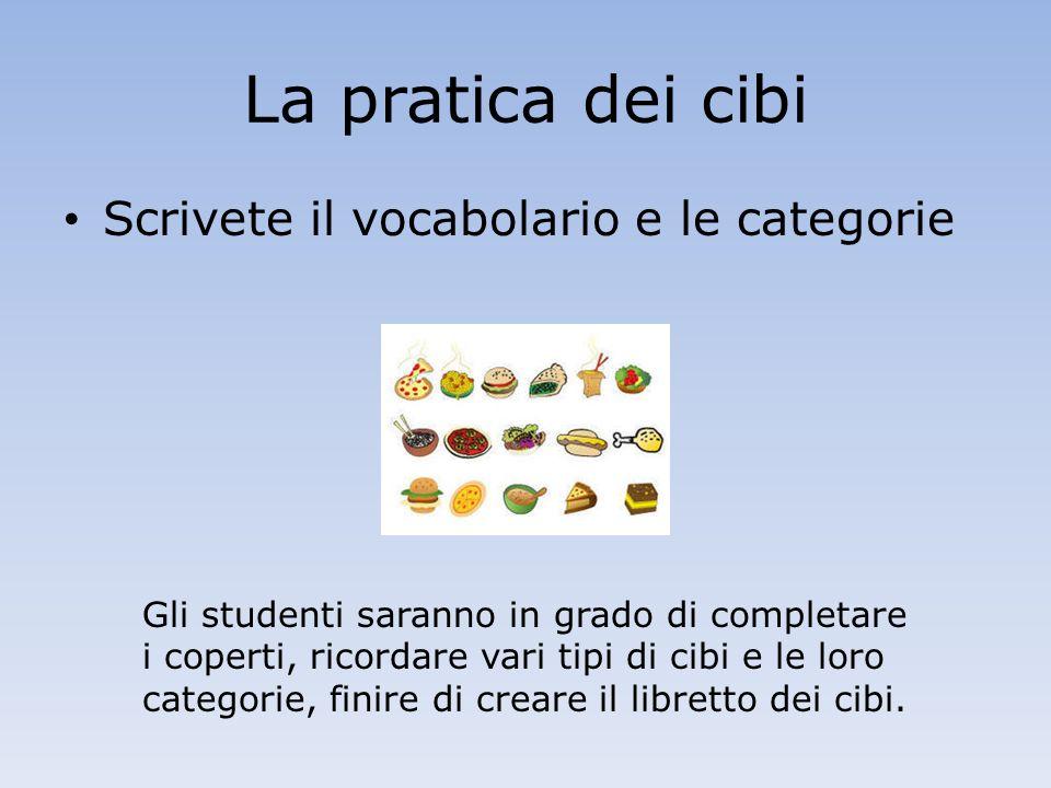 La pratica dei cibi Scrivete il vocabolario e le categorie Gli studenti saranno in grado di completare i coperti, ricordare vari tipi di cibi e le loro categorie, finire di creare il libretto dei cibi.