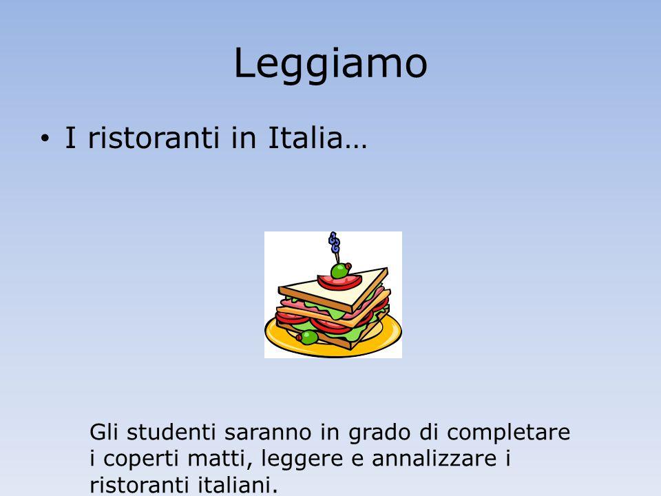 Leggiamo I ristoranti in Italia… Gli studenti saranno in grado di completare i coperti matti, leggere e annalizzare i ristoranti italiani.
