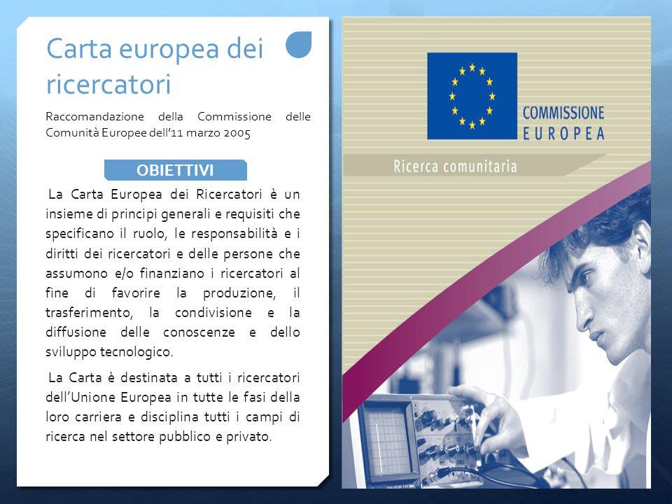 La Carta Europea dei Ricercatori è un insieme di principi generali e requisiti che specificano il ruolo, le responsabilità e i diritti dei ricercatori e delle persone che assumono e/o finanziano i ricercatori al fine di favorire la produzione, il trasferimento, la condivisione e la diffusione delle conoscenze e dello sviluppo tecnologico.
