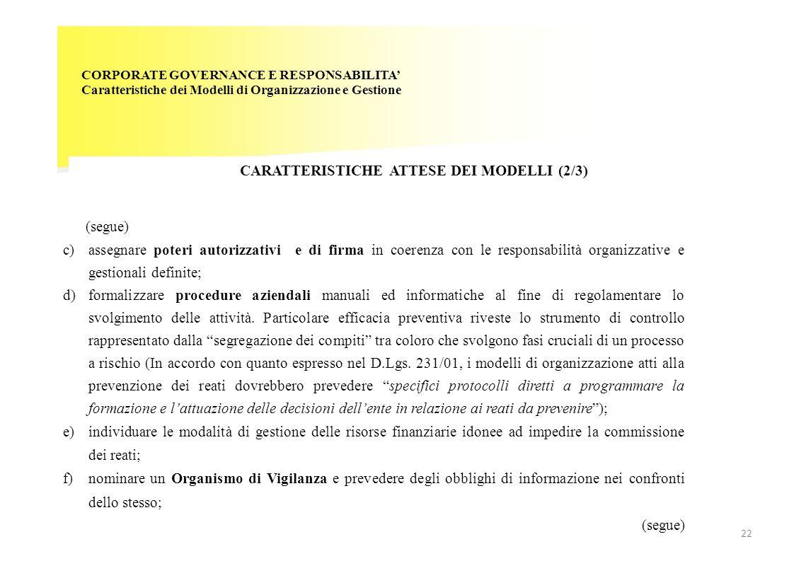 CORPORATE GOVERNANCE E RESPONSABILITA' Caratteristiche dei Modelli di Organizzazione e Gestione CARATTERISTICHE ATTESE DEI MODELLI (2/3) (segue) c)ass