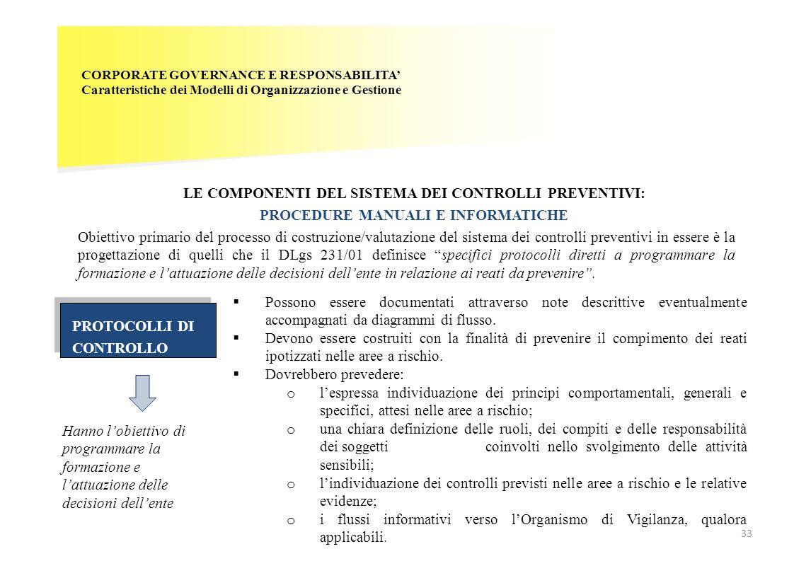 CORPORATE GOVERNANCE E RESPONSABILITA' Caratteristiche dei Modelli di Organizzazione e Gestione LE COMPONENTI DEL SISTEMA DEI CONTROLLI PREVENTIVI: PR