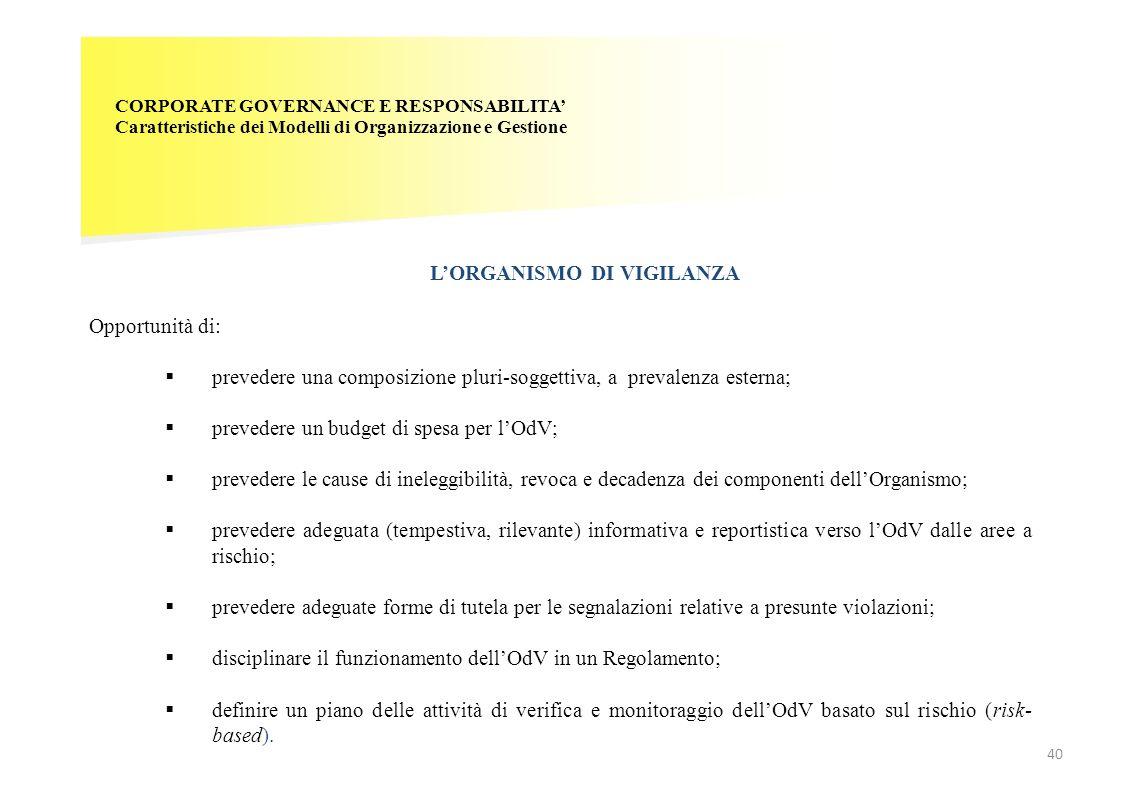 CORPORATE GOVERNANCE E RESPONSABILITA' Caratteristiche dei Modelli di Organizzazione e Gestione L'ORGANISMO DI VIGILANZA 40 Opportunità di:  preveder