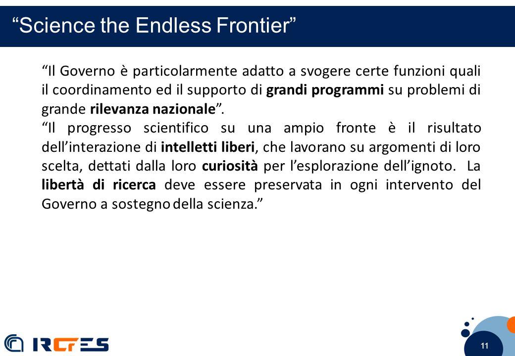 11 Science the Endless Frontier Il Governo è particolarmente adatto a svogere certe funzioni quali il coordinamento ed il supporto di grandi programmi su problemi di grande rilevanza nazionale .